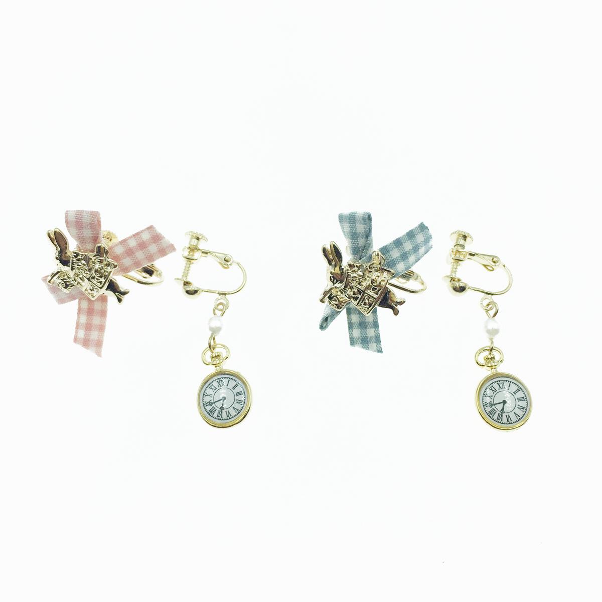 韓國 愛麗絲 時鐘兔子 格紋蝴蝶結 珍珠 垂墜 不對稱  夾式耳環
