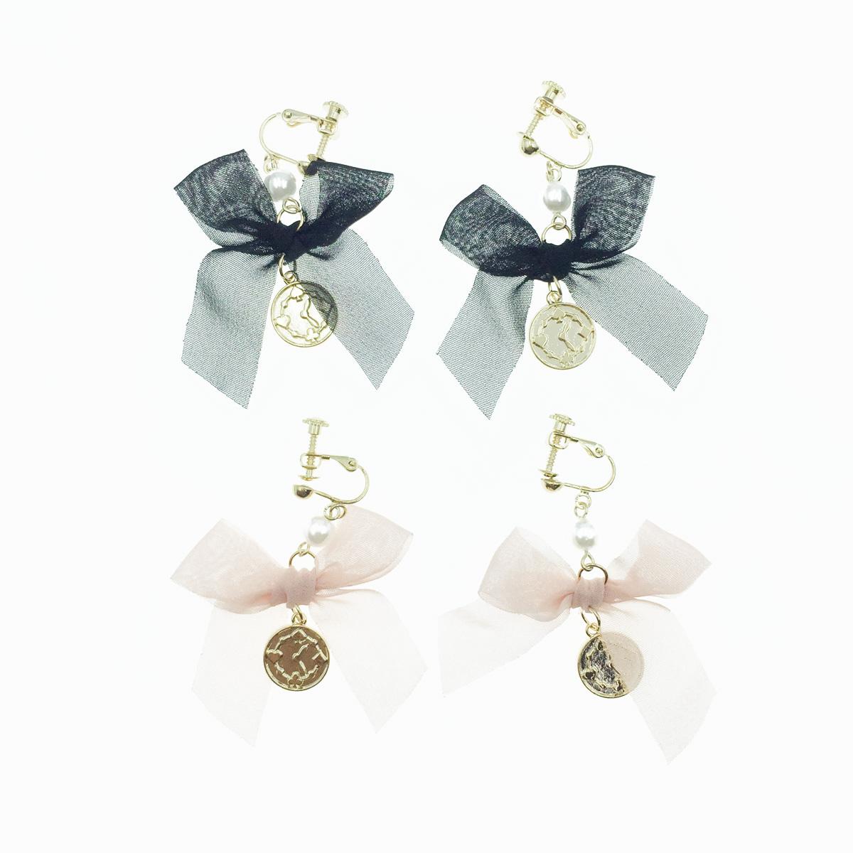 韓國 愛麗絲 時鐘 絲質蝴蝶結 緞帶 珍珠 垂墜 夾式耳環