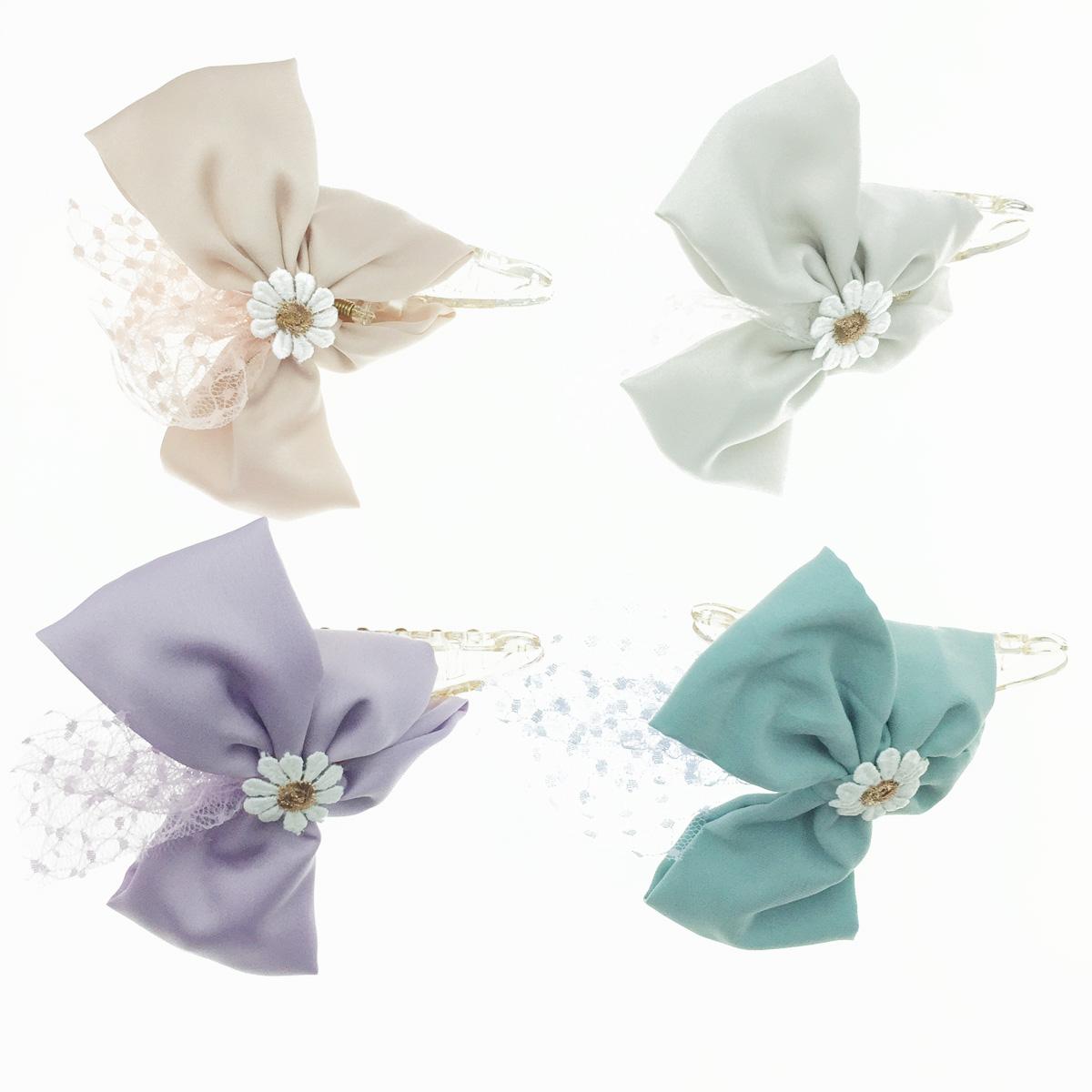 韓國 花朵 太陽花 向日葵 蕾絲 緞帶 蝴蝶結 鯊魚夾 髮夾 髮飾