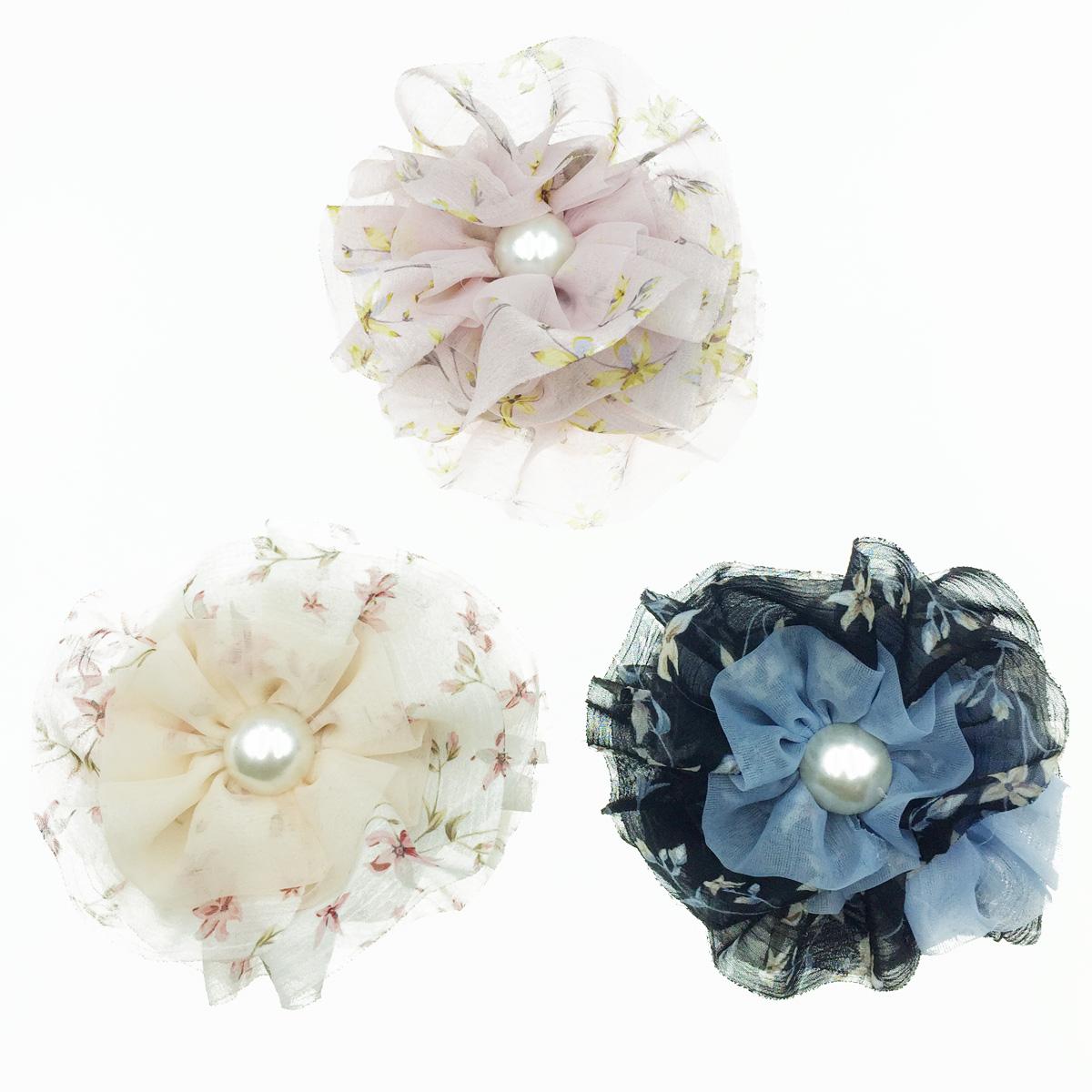 韓國 花朵 絲質 珍珠 緞帶 碎花 鯊魚夾 髮夾 髮飾