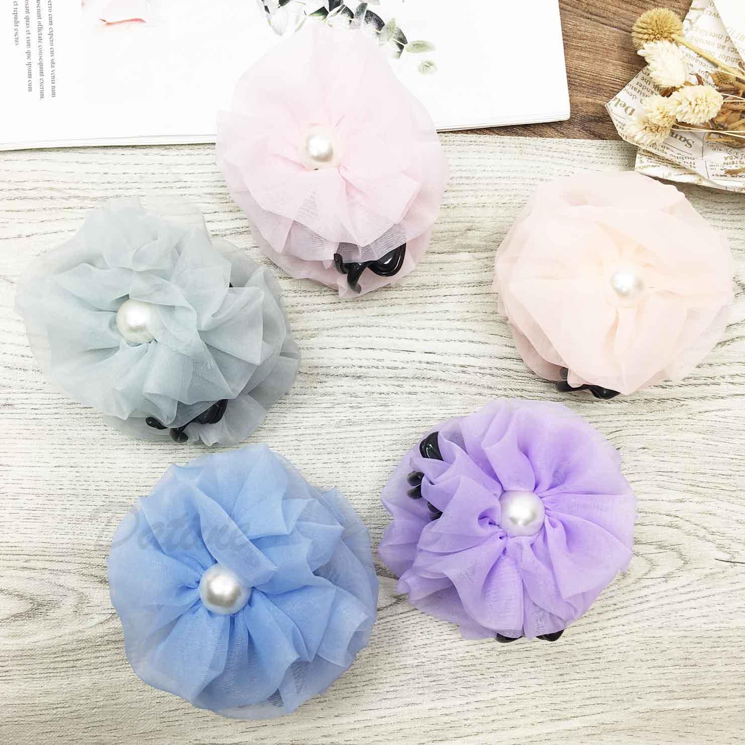 韓國 素色花朵 珍珠 絲質 鯊魚夾 髮夾 髮飾