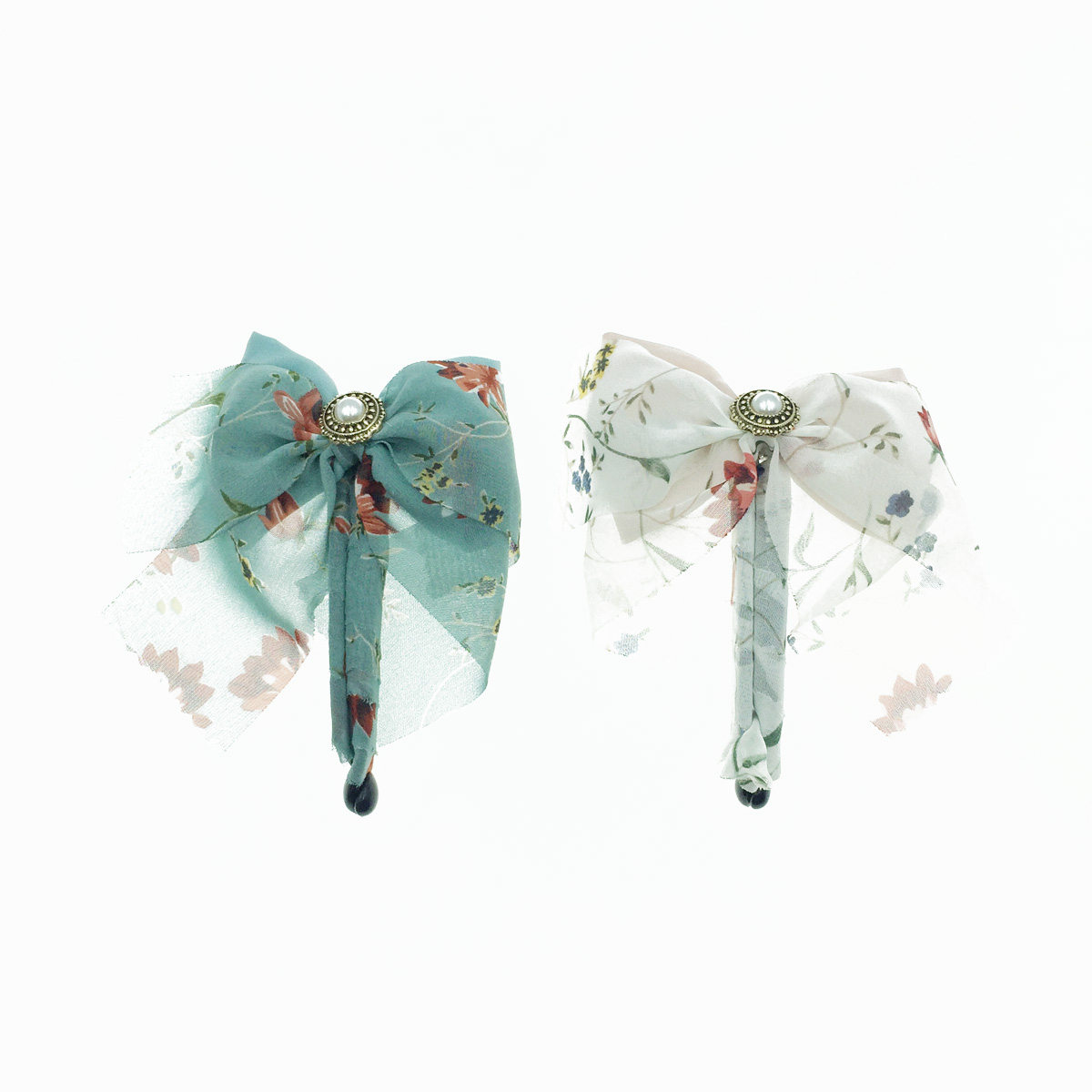 韓國 蝴蝶結 碎花 絲質 珍珠鈕扣 相交夾 髮夾 髮飾