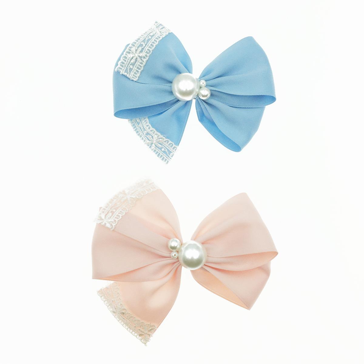 韓國 蝴蝶結 珍珠 蕾絲 緞帶 緞面質感 髮夾 髮飾