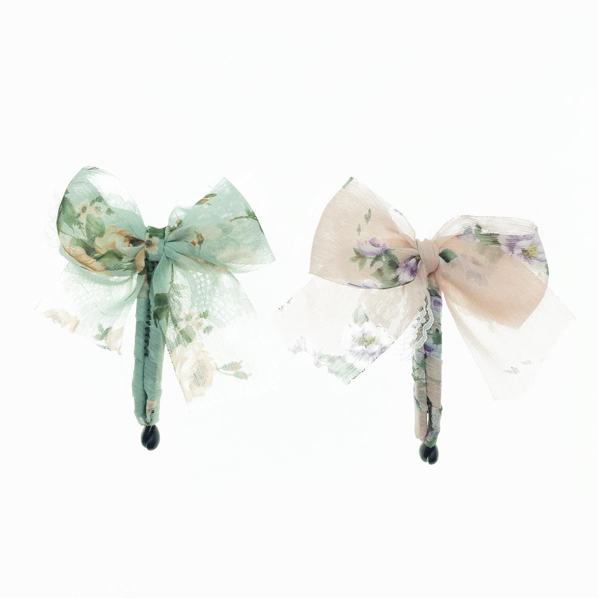 韓國 蝴蝶結 蕾絲 緞帶 碎花 相交夾 髮夾 髮飾