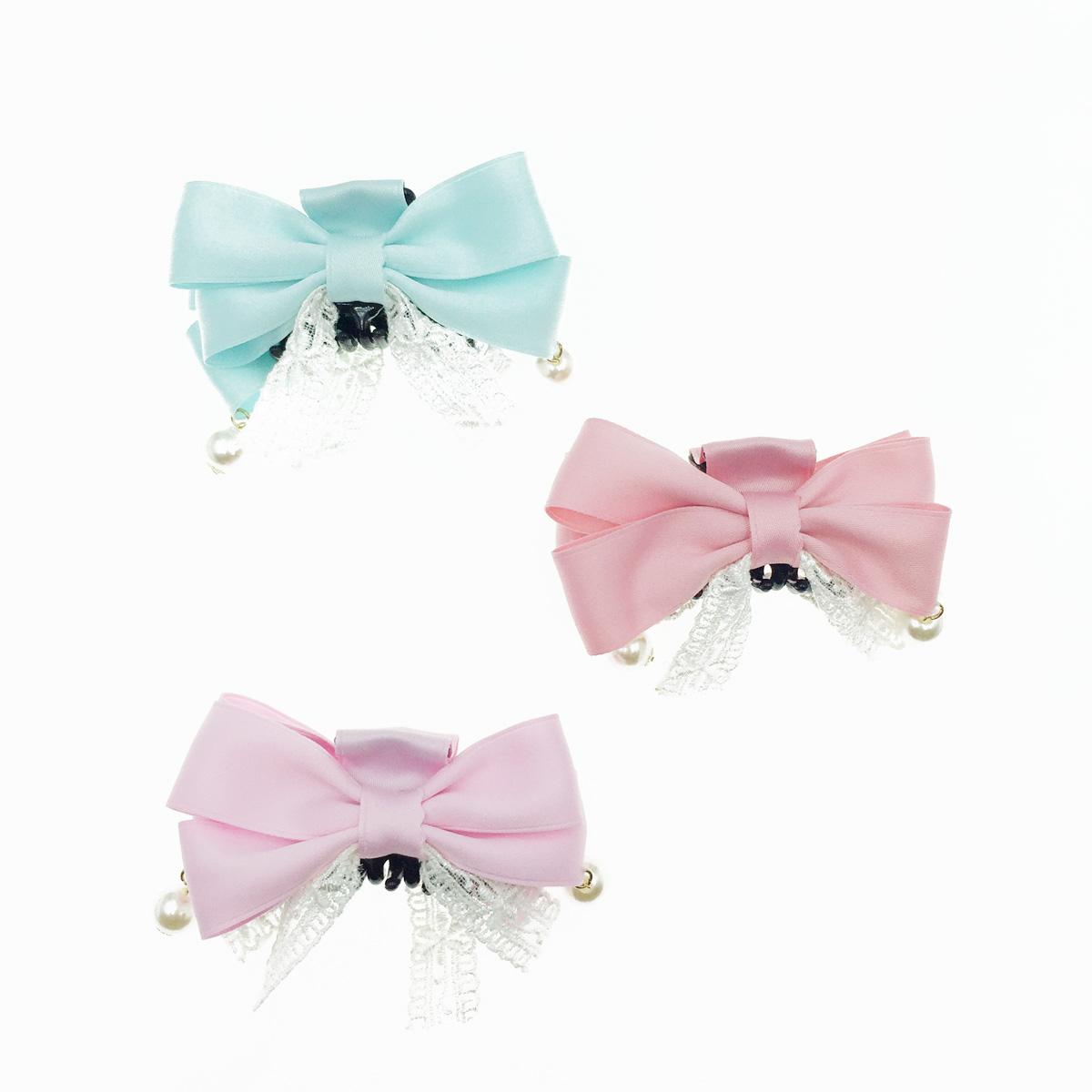 韓國 珍珠垂墜 蝴蝶結 蕾絲 緞帶 緞面質感 鯊魚夾 髮夾 髮飾