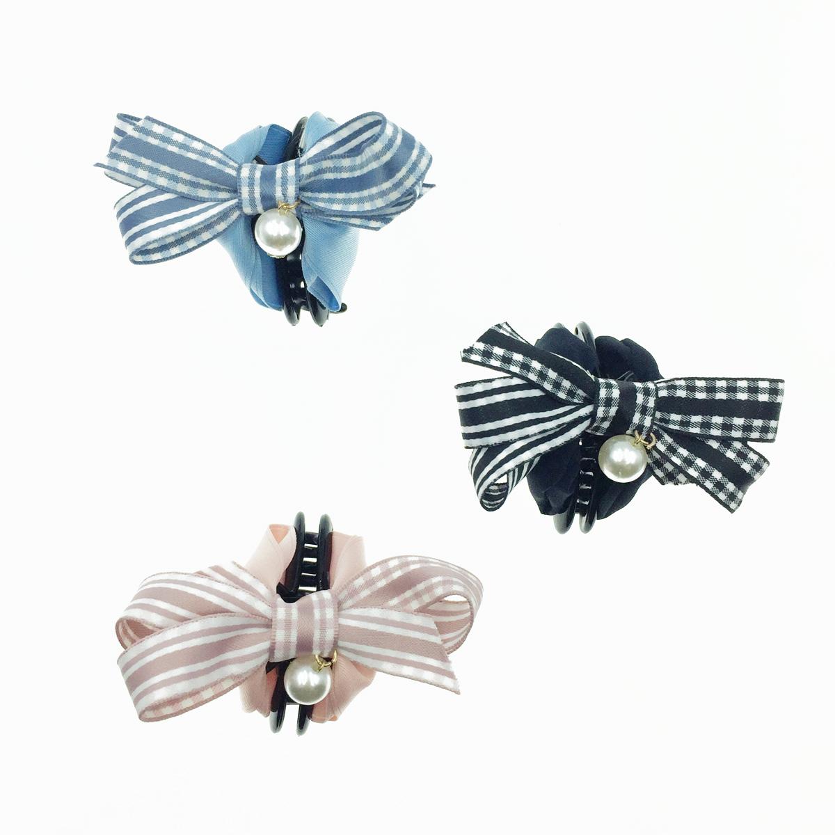 韓國 格紋蝴蝶結 垂墜珍珠 緞帶 緞面 鯊魚夾 髮夾 髮飾