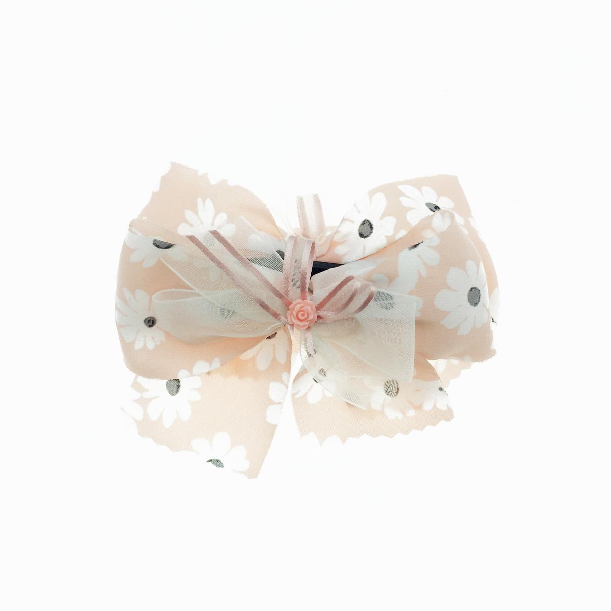 韓國 花朵 玫瑰花 緞帶 蝴蝶結 碎花 相交夾 髮夾 髮飾