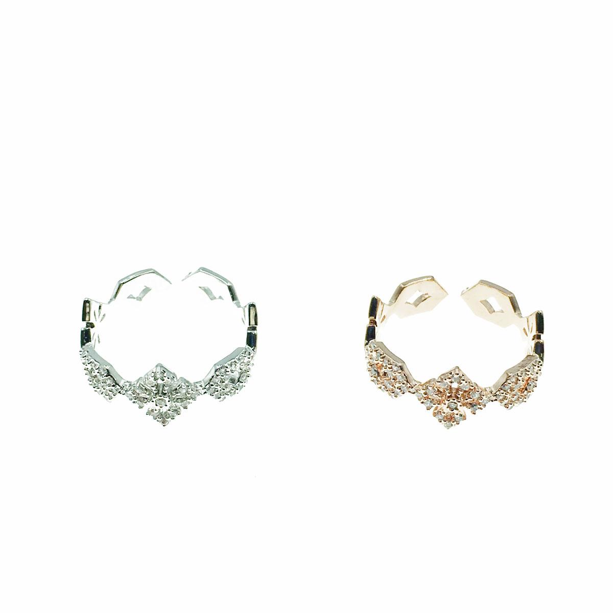韓國 明星款 水鑽 簍空 兩色 可調式 戒指