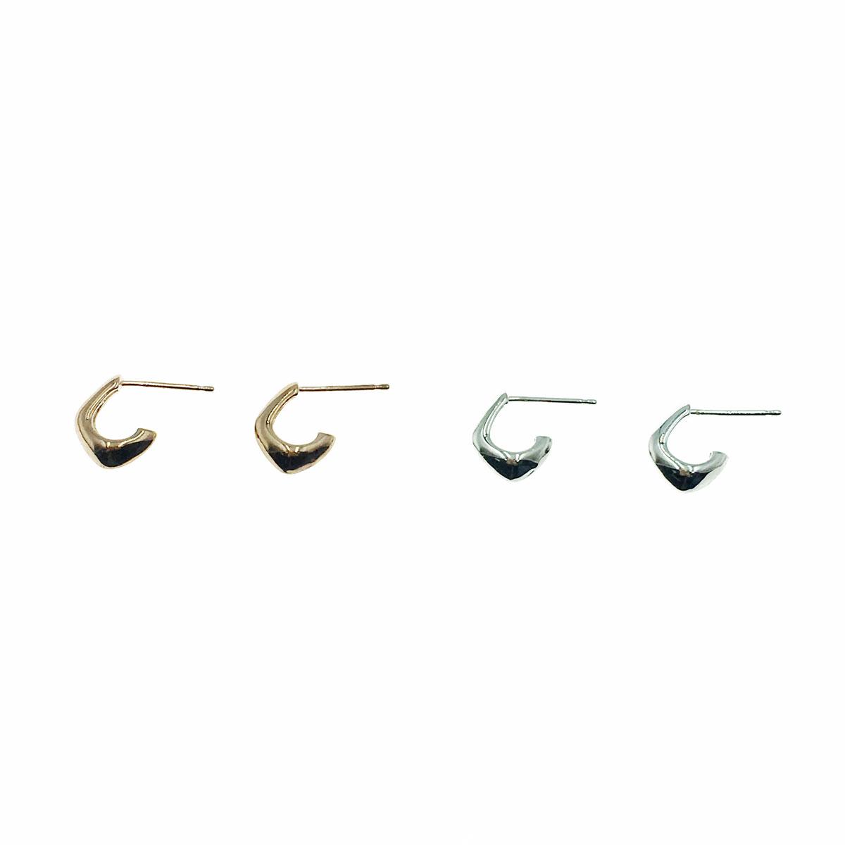 韓國 925純銀 金屬風 簡約 C字 兩色 耳針式 耳環