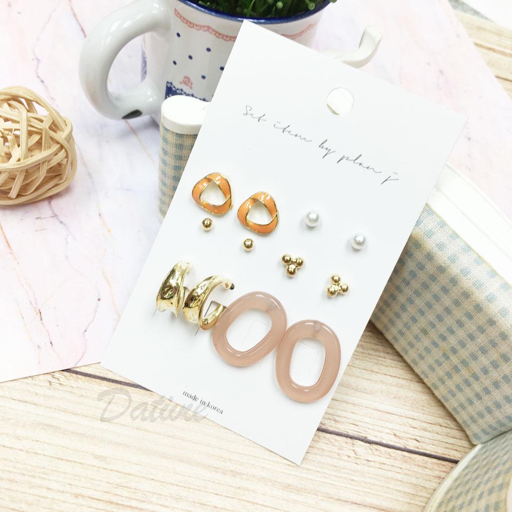韓國 珍珠 C字型 微透明 金屬 同款二入 12入一組 耳針式 耳環