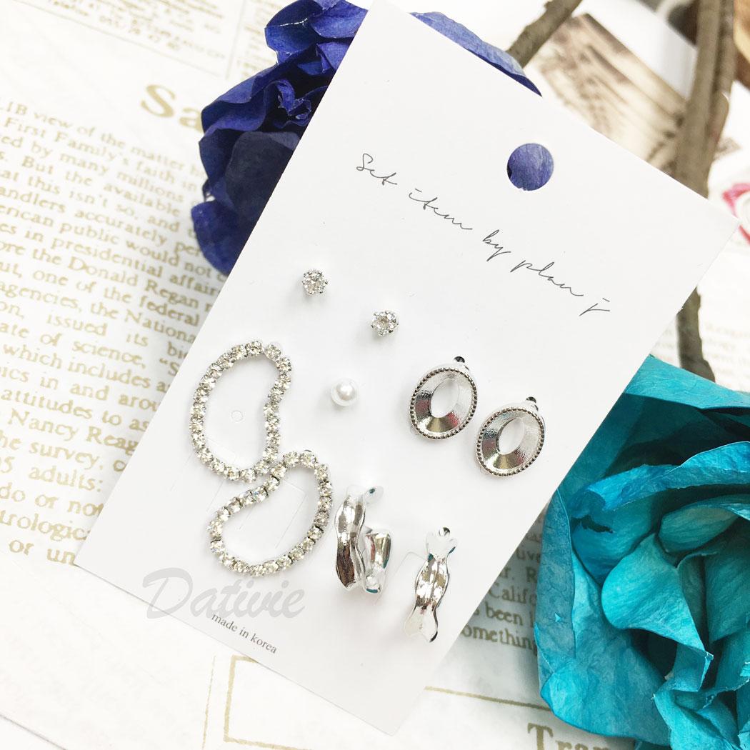 韓國 水鑽 珍珠 簍空 C字型 多入 9入一組 垂墜感 耳針式 耳環