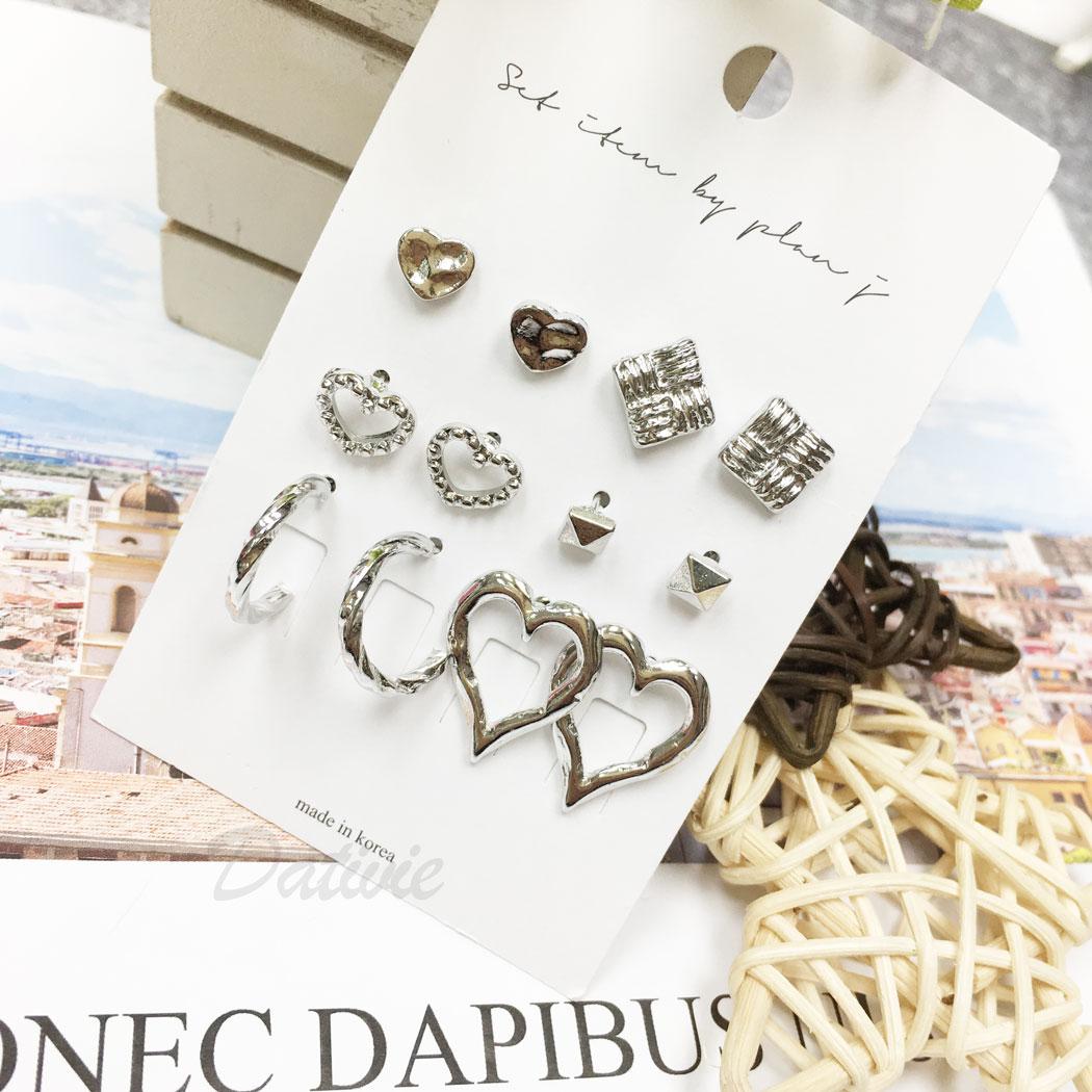 韓國 愛心 方形 簍空 C字型 多入 同款二入 12入一組 耳針式 耳環