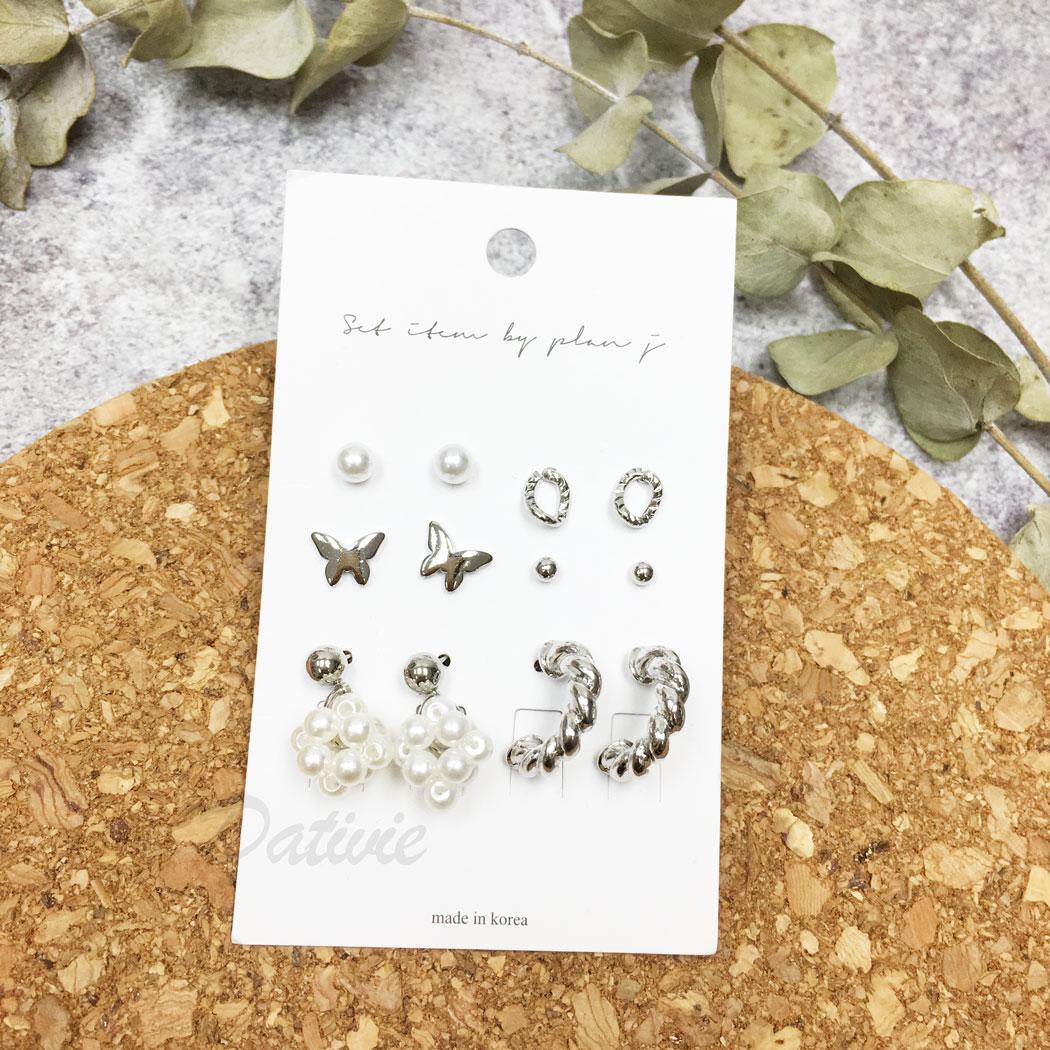 韓國 珍珠 串珠 蝴蝶 麻花 C字型 多入 同款各二 12入一組 垂墜感 耳針式 耳環