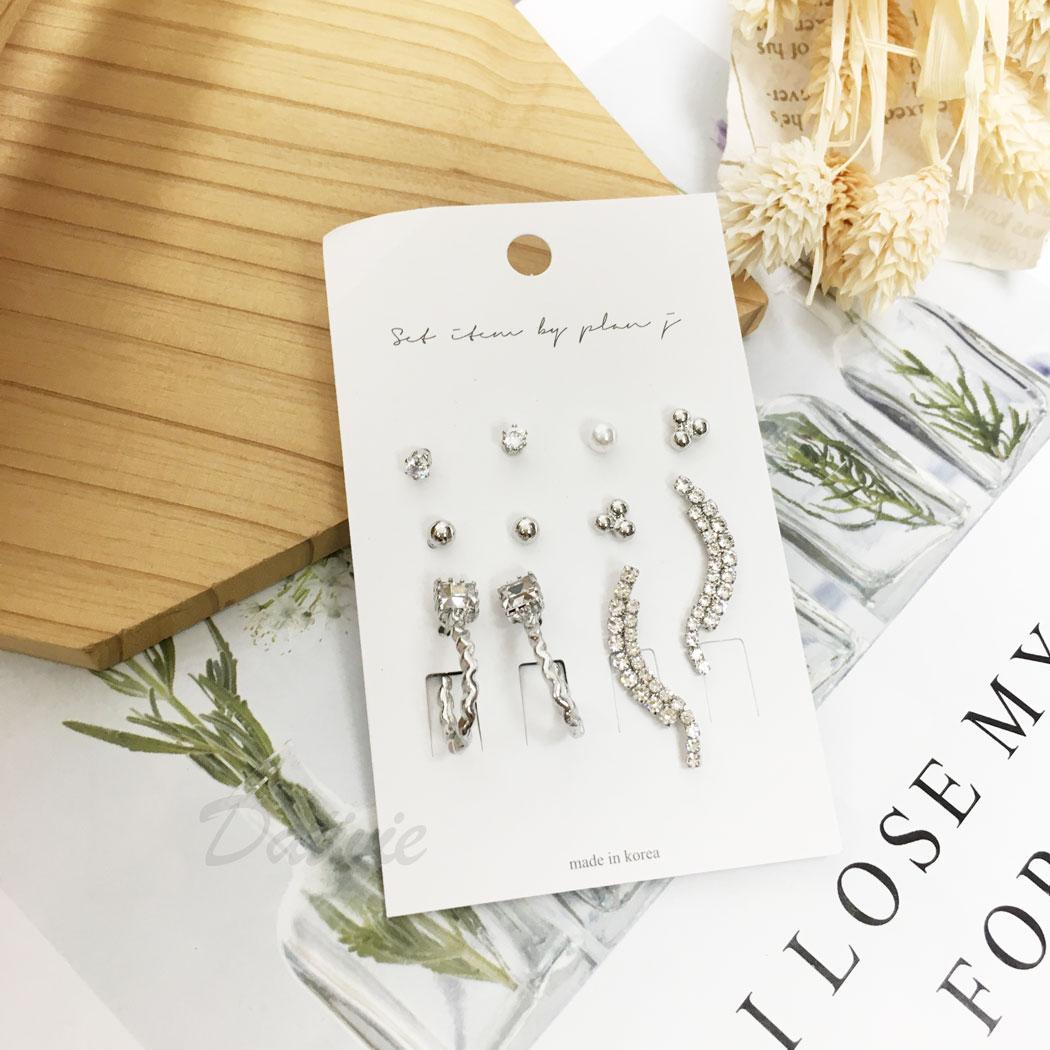 韓國 水鑽 珍珠 C字型 多入 11入一組 垂墜感 耳針式 耳環