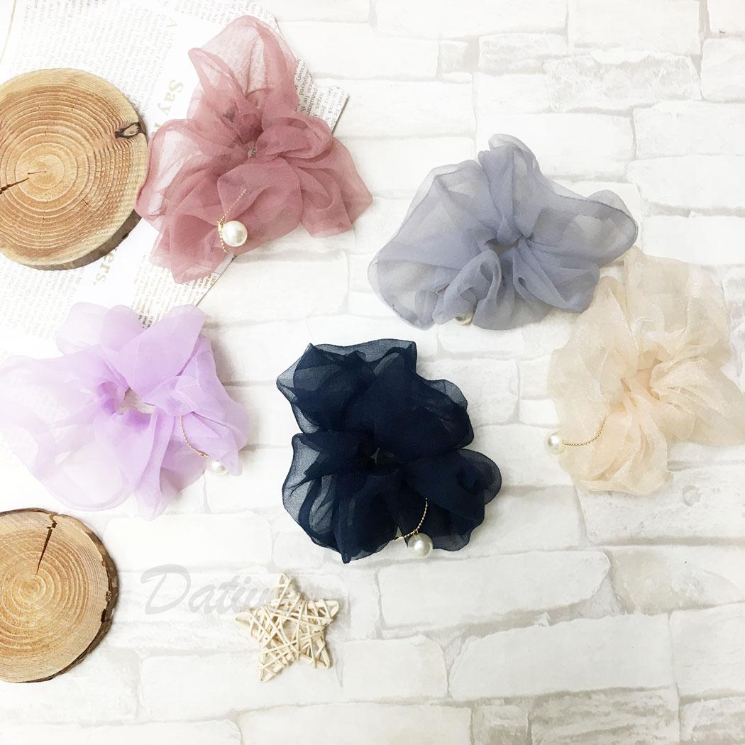韓國 珍珠 素面 五色 大腸圈 髮圈 髮飾
