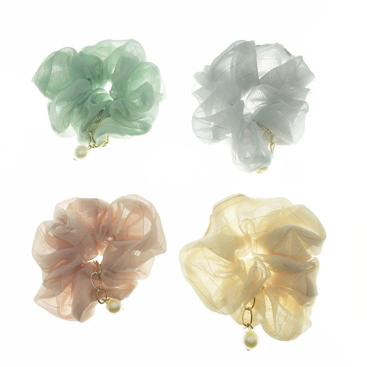 韓國 珍珠 鍊子 金線 四色 大腸圈 髮圈 髮飾