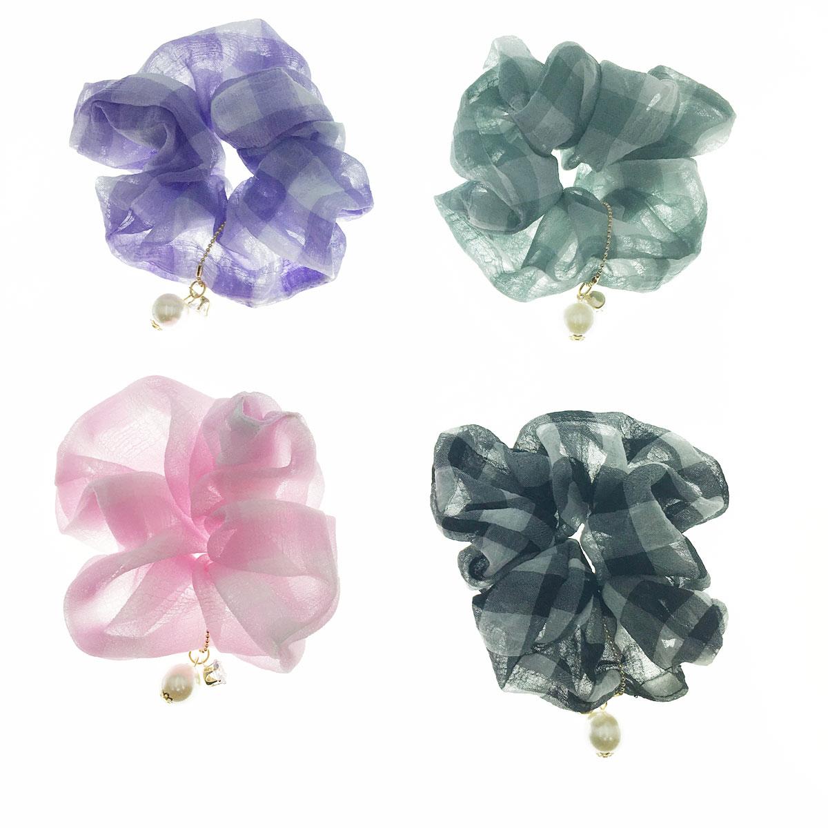 韓國 水鑽 珍珠 格子 四色 大腸圈 髮圈 髮飾