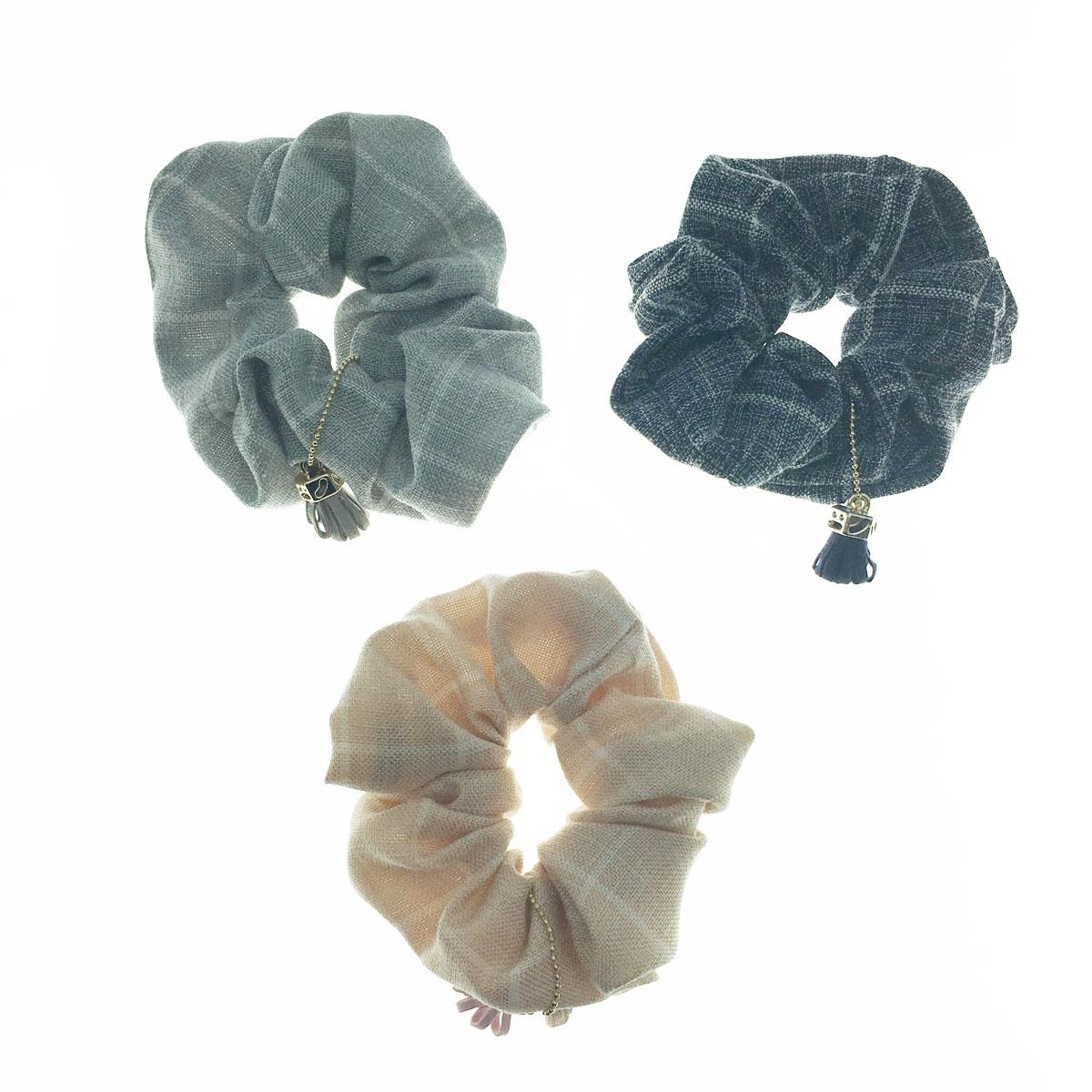 韓國 格子 流蘇 三色 大腸圈 髮圈 髮飾