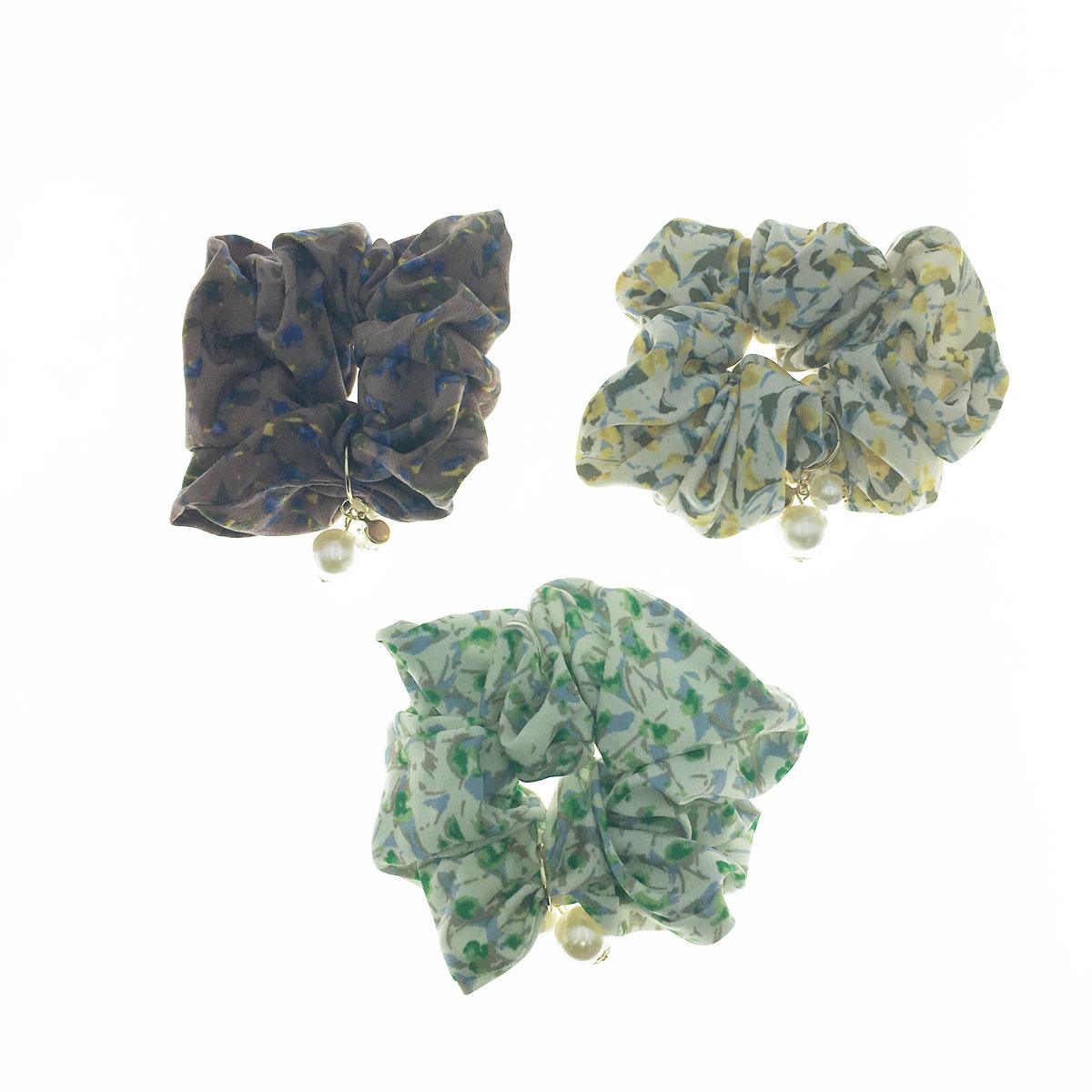 韓國 花朵 珍珠水鑽 三色 大腸圈 髮圈 髮飾