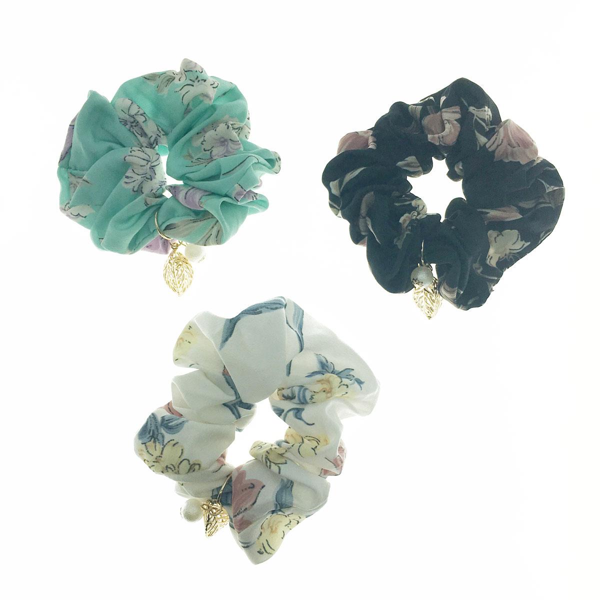 韓國 葉子 水鑽 立體 珍珠 花朵 三色 大腸圈 髮圈 髮飾
