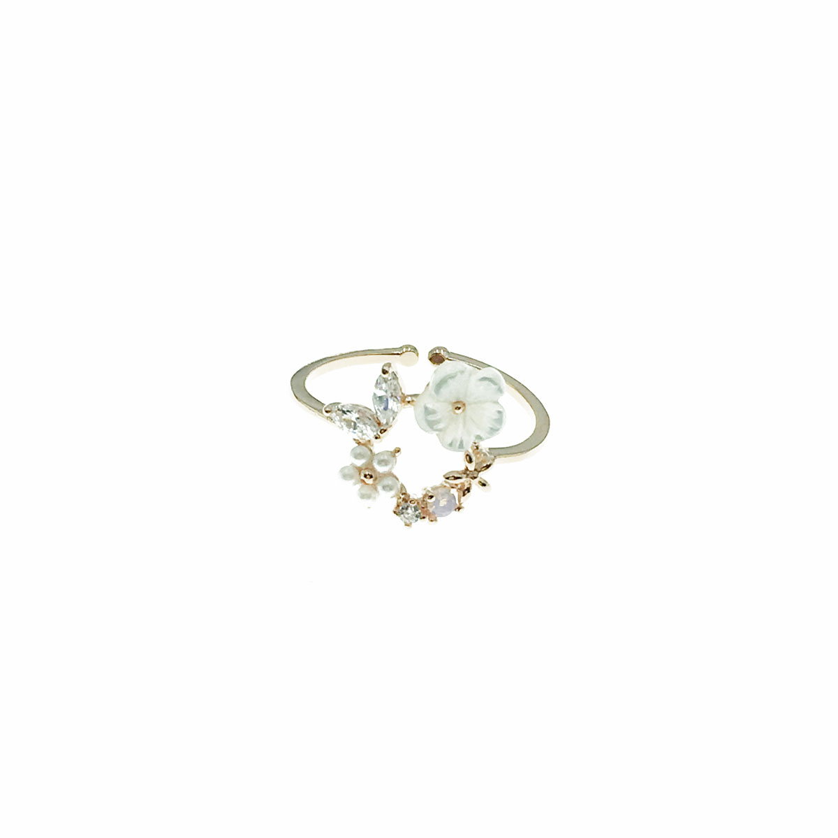 韓國 水鑽 花朵 珍珠 葉子 可調式 戒指