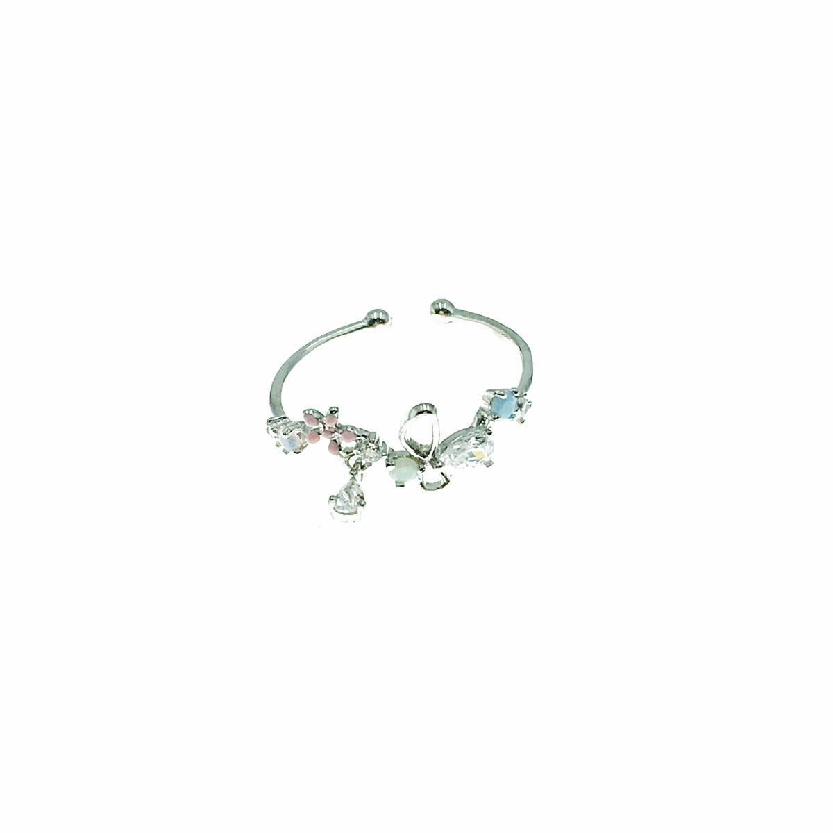 韓國 水鑽 花朵 彩鑽 蝴蝶 簍空 垂墜感 可調式 戒指