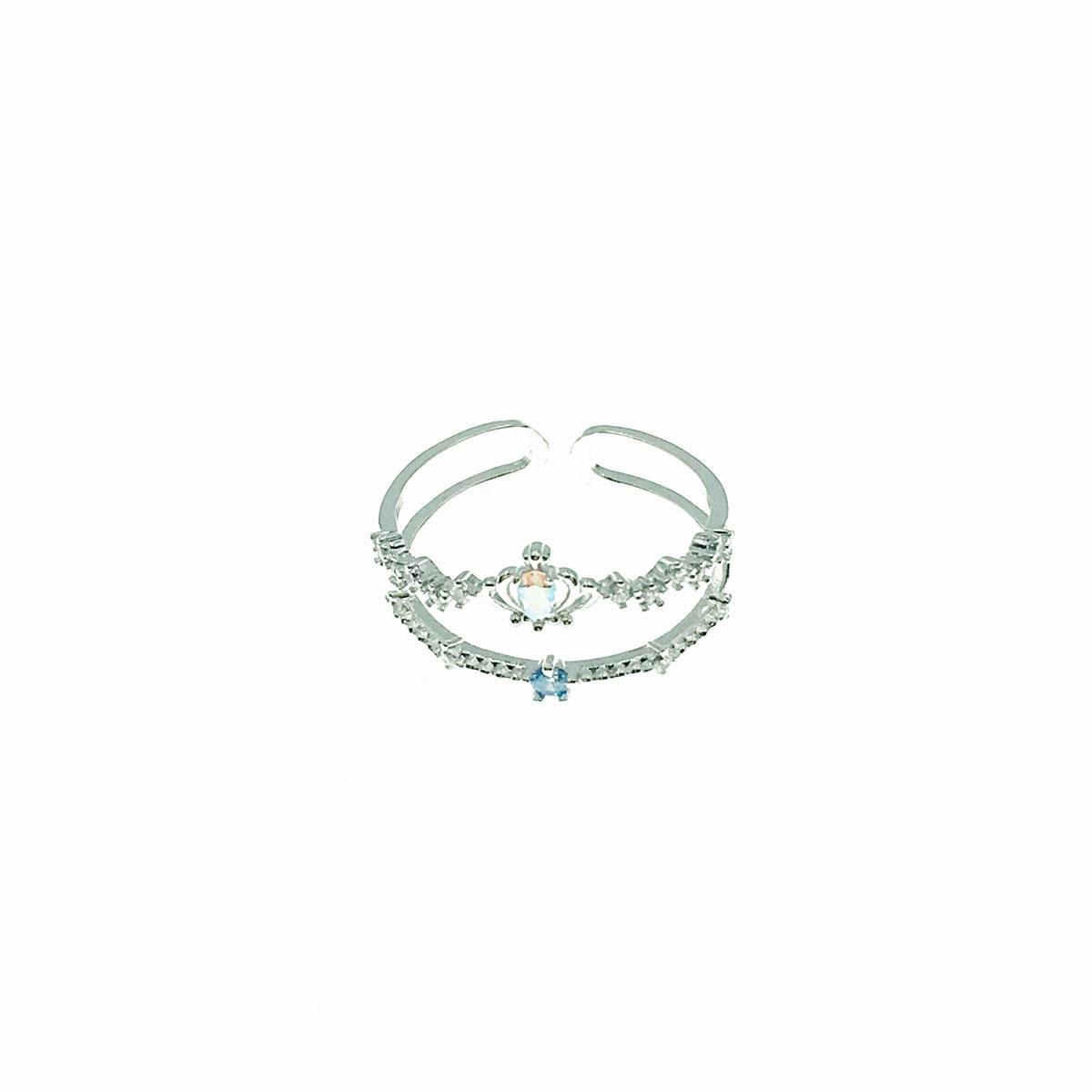 韓國 水鑽 皇冠 彩鑽 簍空 可調式 戒指