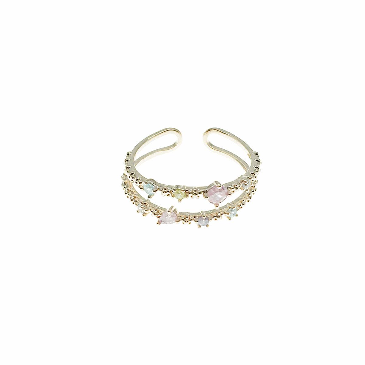 韓國 水鑽 花朵 彩鑽 可調式 戒指