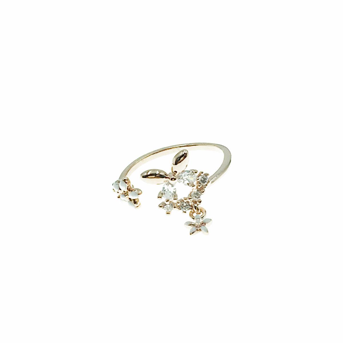 韓國 水鑽 蝴蝶 花朵 簍空 垂墜感 可調式 戒指