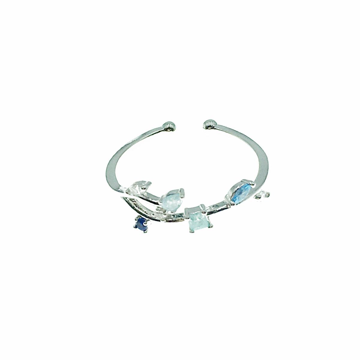 韓國 水鑽 葉子 方鑽 彩鑽 可調式 戒指