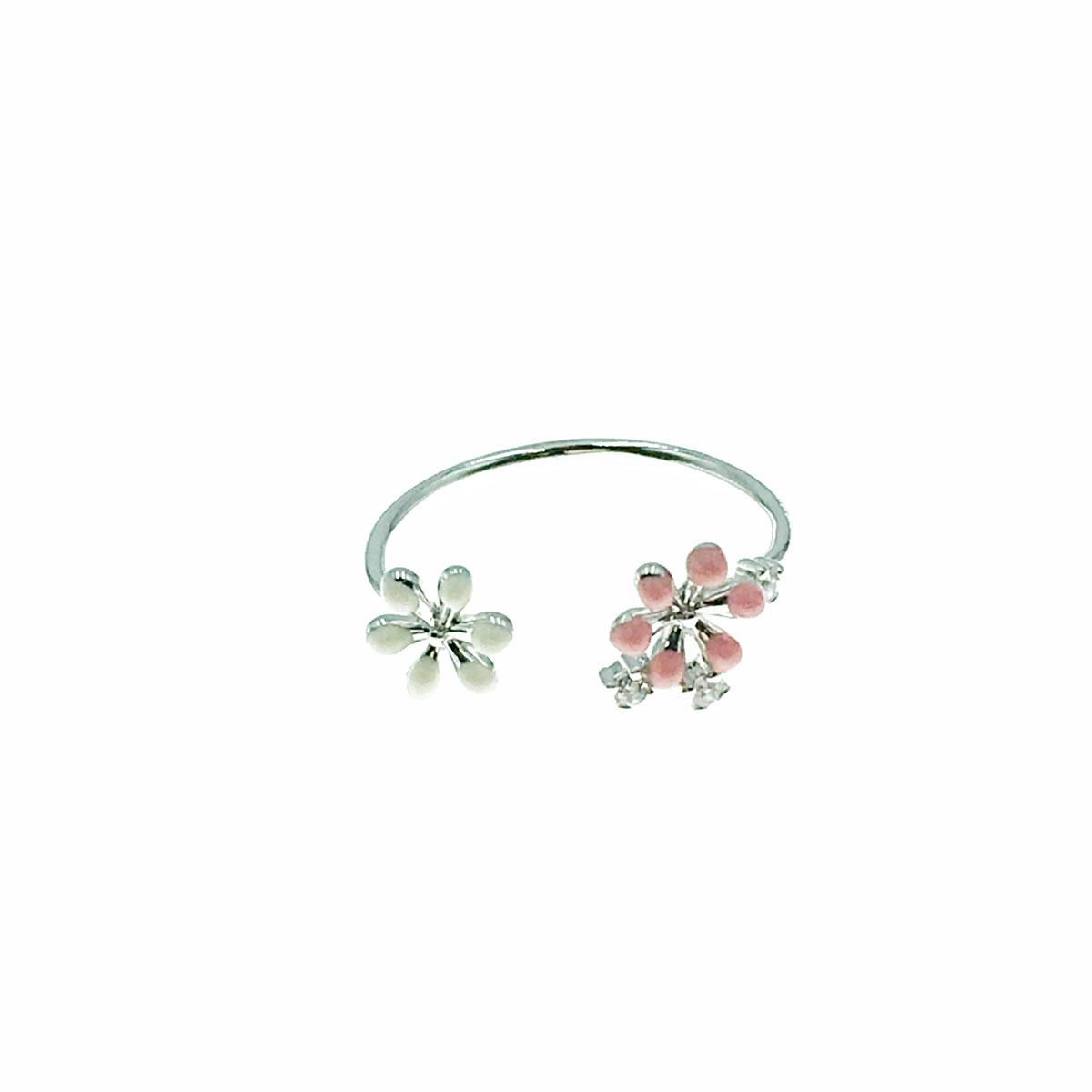 韓國 水鑽 花朵 簡約 可調式 戒指
