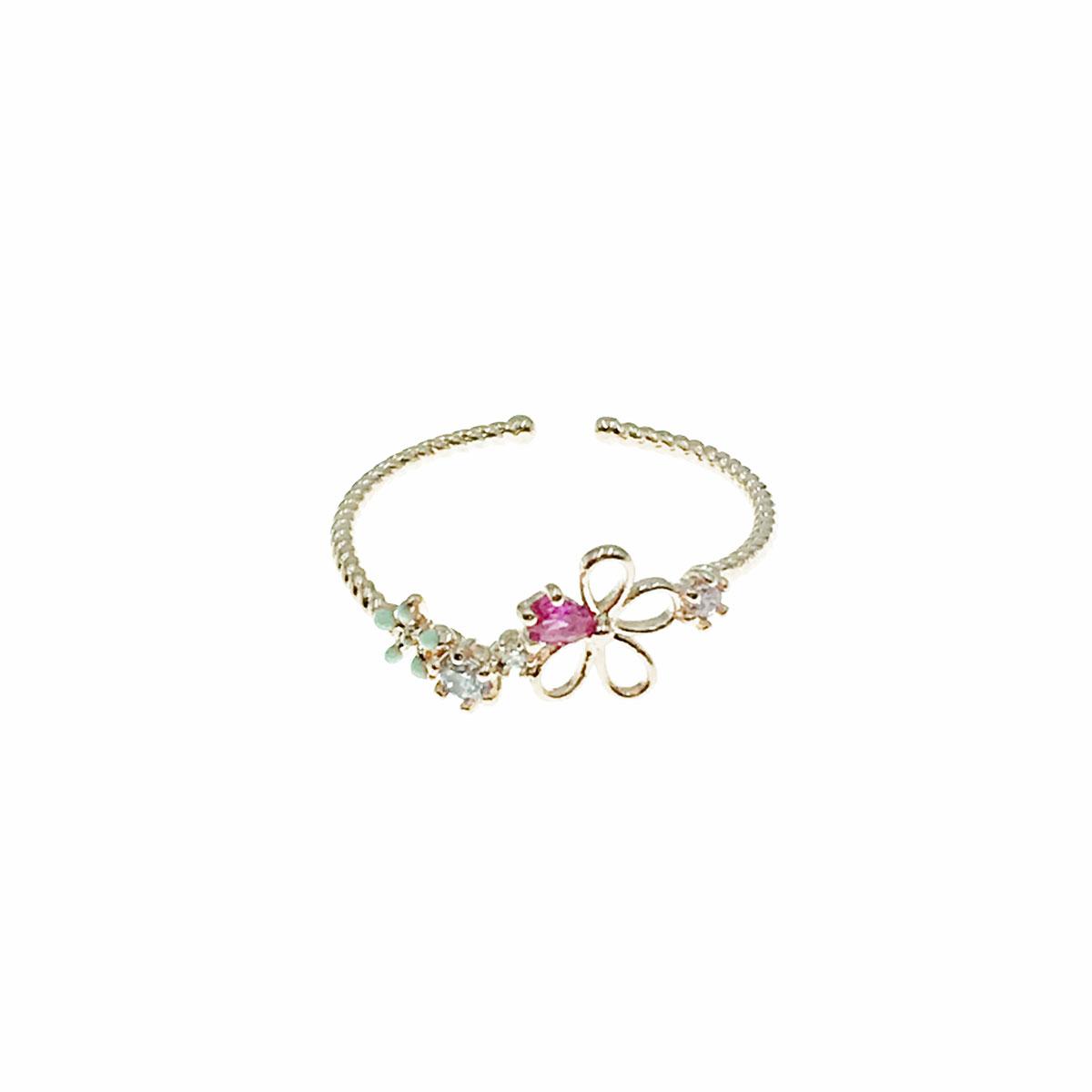 韓國 水鑽 花朵 簍空 彩鑽 可調式 戒指