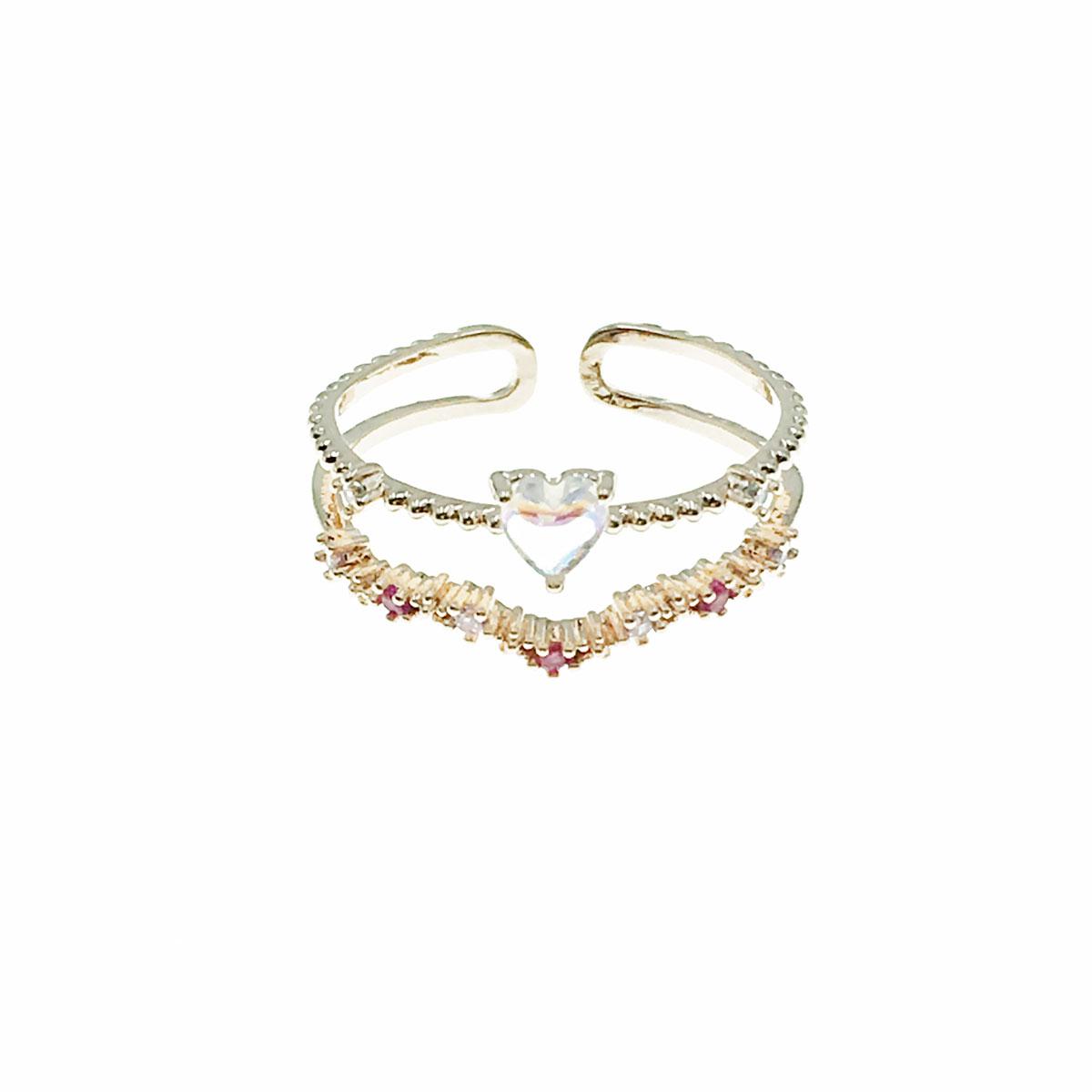 韓國 水鑽 小花朵 愛心 彩鑽 可調式 戒指
