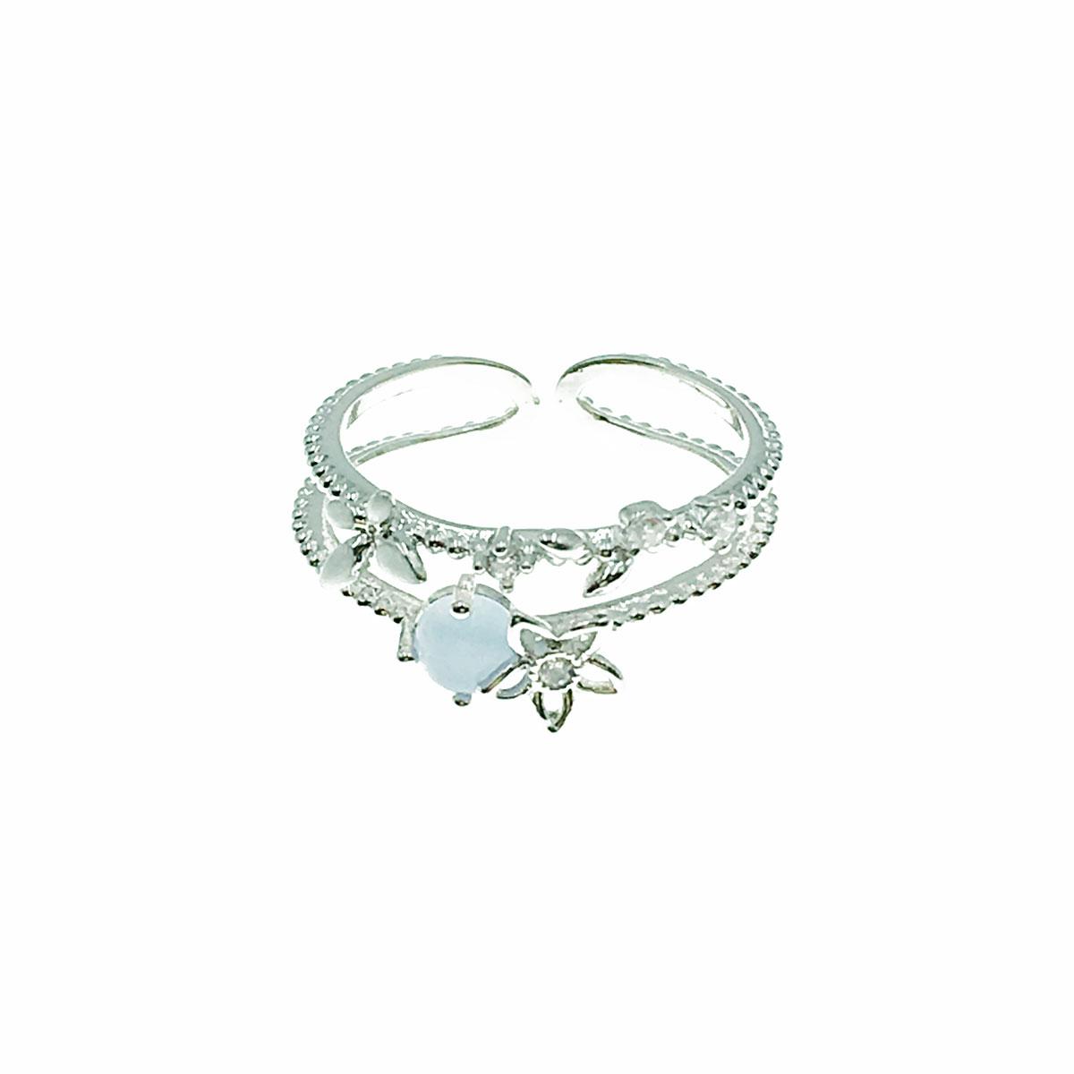 韓國 水鑽 花朵 簍空 蝴蝶 貓眼 葉子 可調式 戒指