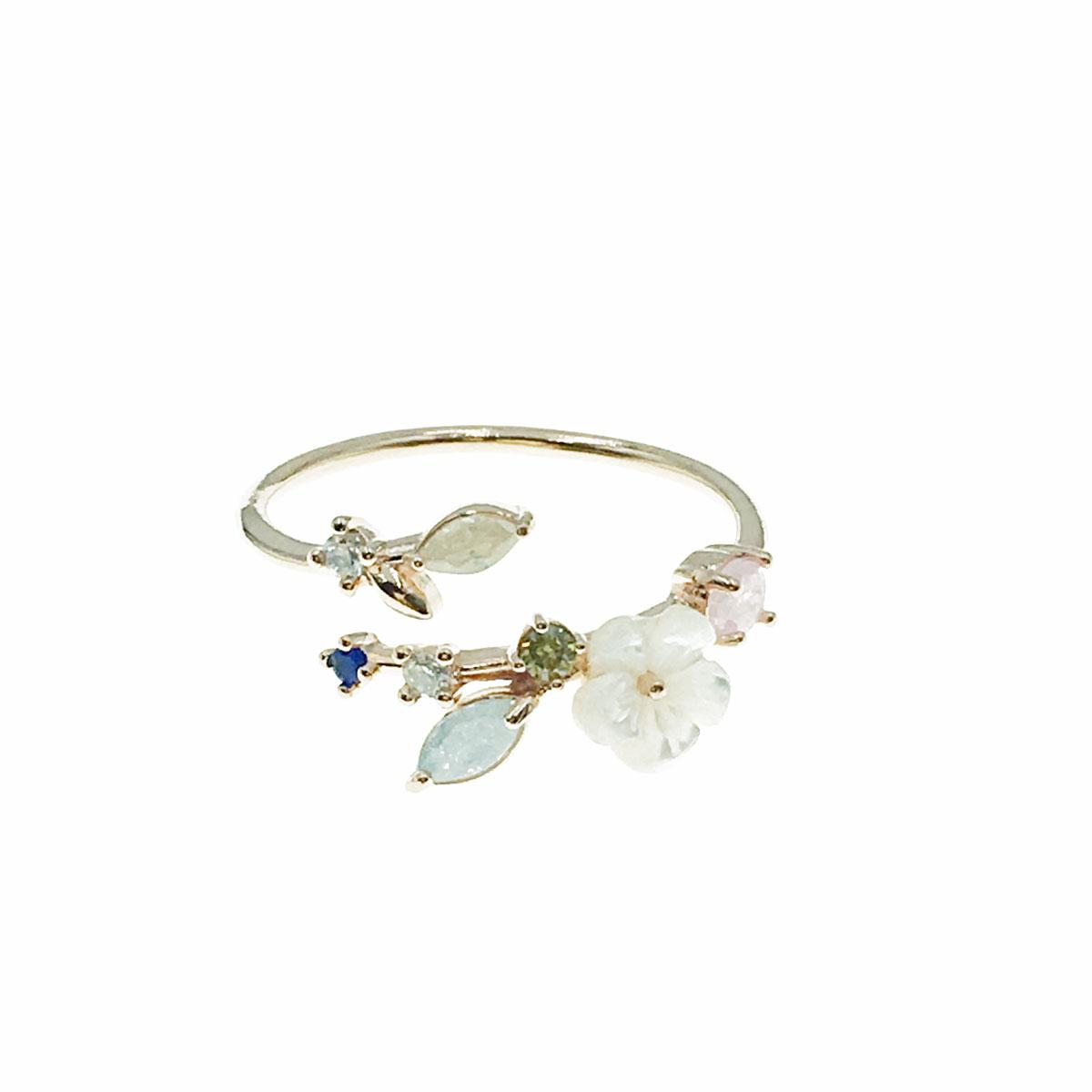 韓國 水鑽 花朵 彩鑽 葉子 可調式 戒指