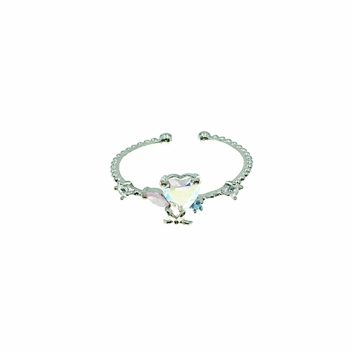韓國 水鑽 愛心 花朵 彩鑽 可調式 戒指