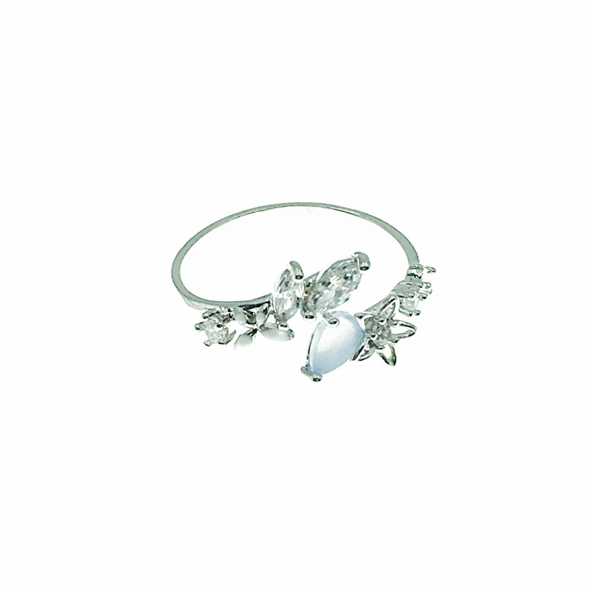 韓國 花朵 水鑽 簍空 貓眼 蝴蝶 葉子 可調式 戒指