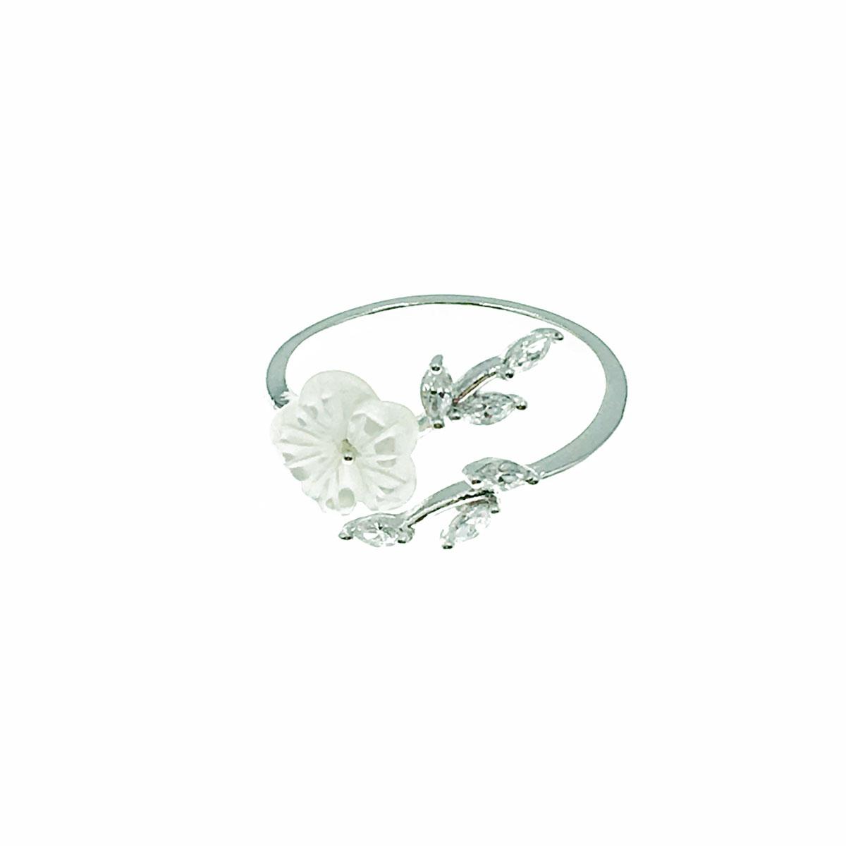 韓國 水鑽 花朵 葉子 可調式 戒指