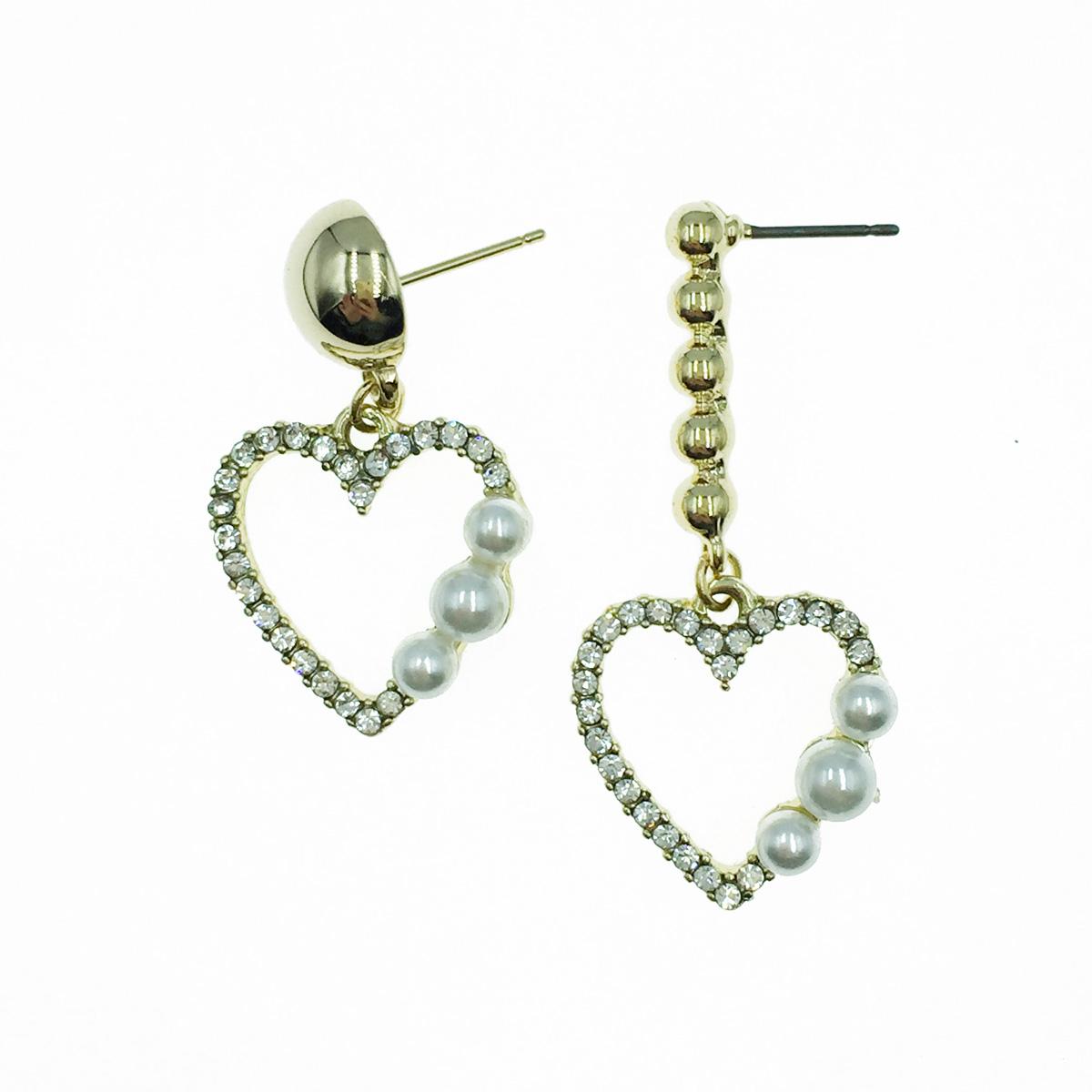 韓國 水鑽愛心 珍珠 垂墜感 耳針式耳環
