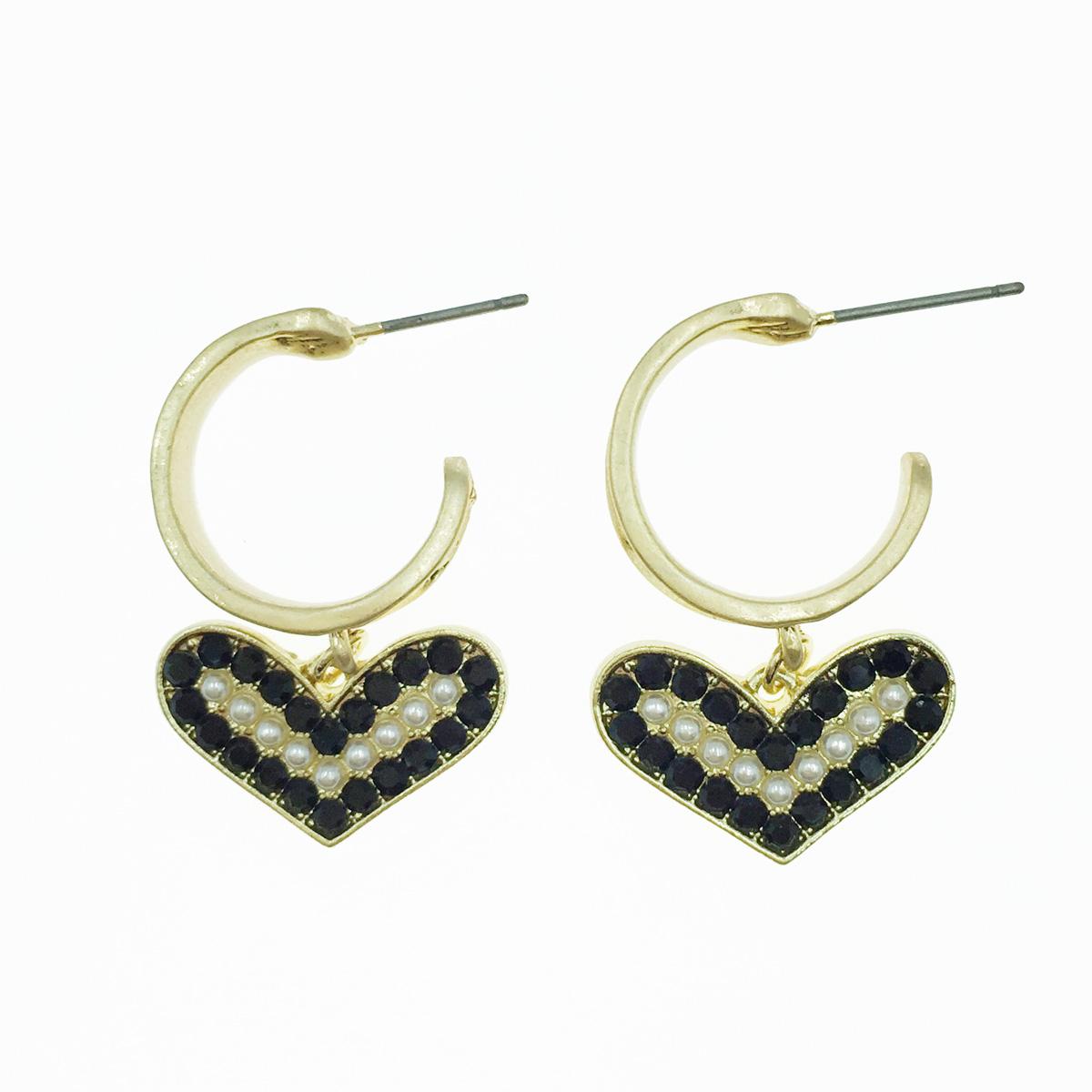 韓國 愛心 珍珠 金 垂墜感 耳針式耳環
