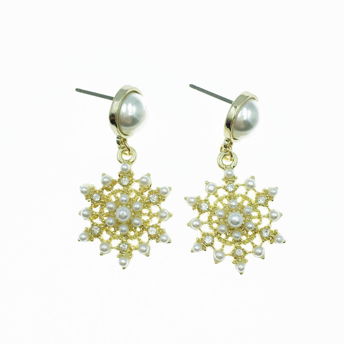 韓國 珍珠 水鑽 垂墜感 耳針式耳環