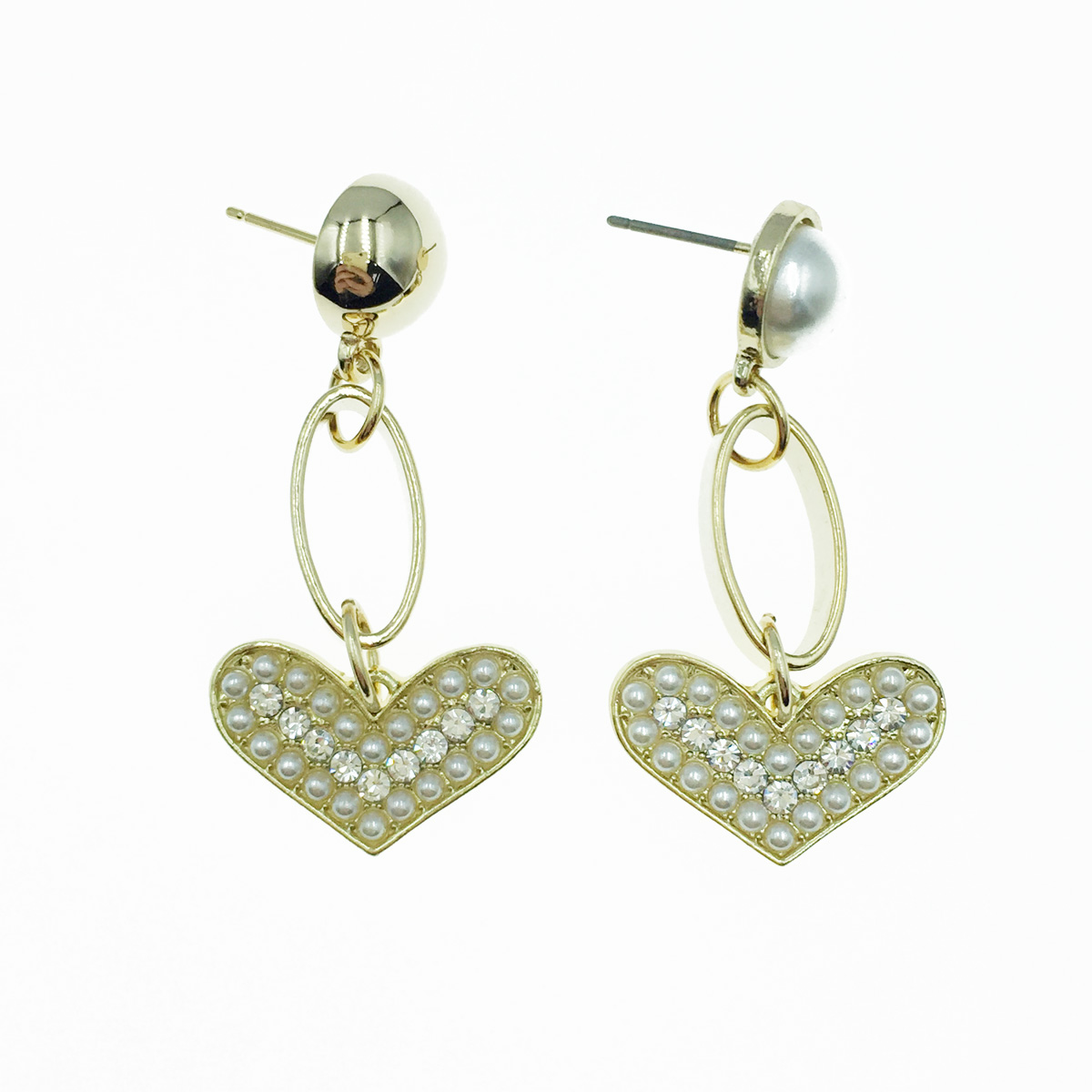 韓國 珍珠 愛心水鑽 垂墜感 耳針式耳環