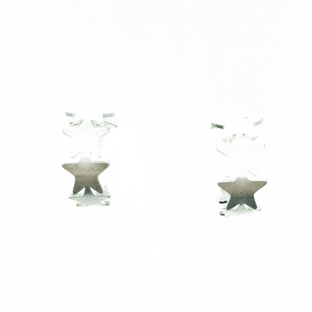 韓國 星星 C圈 霧銀 歐美金屬風 耳針式耳環