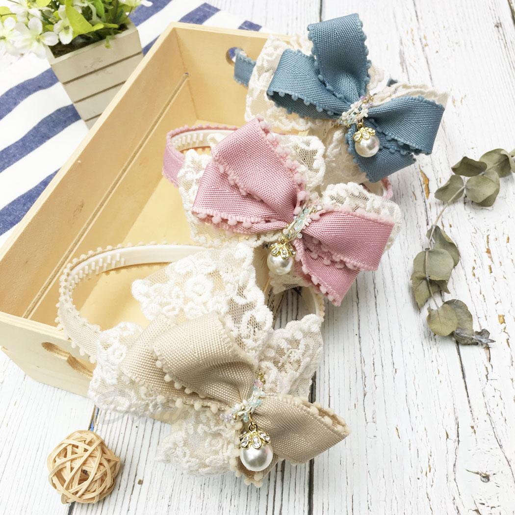 韓國 水鑽 珍珠 蝴蝶結 兒童 三色 髮箍