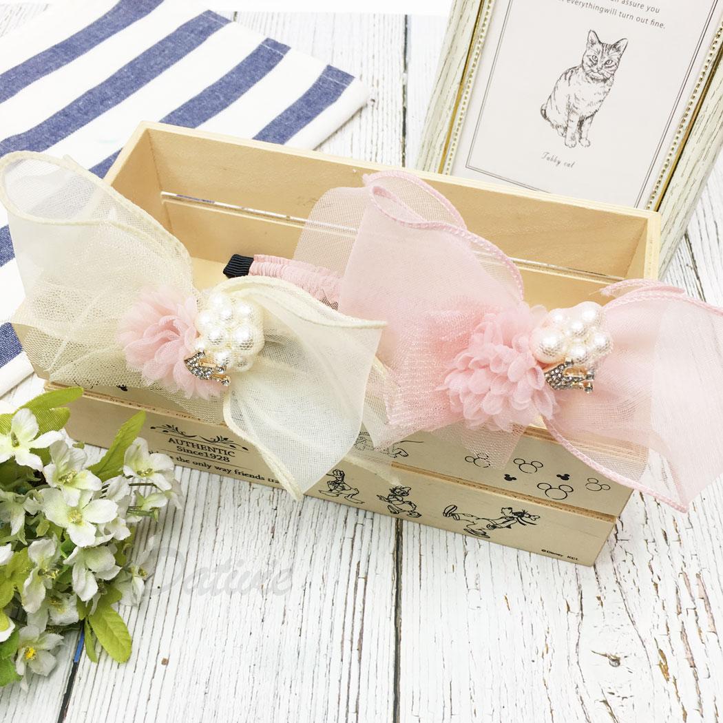 韓國 珍珠 水鑽 花朵 蝴蝶結 網紗 皇冠 兩色 兒童 髮箍