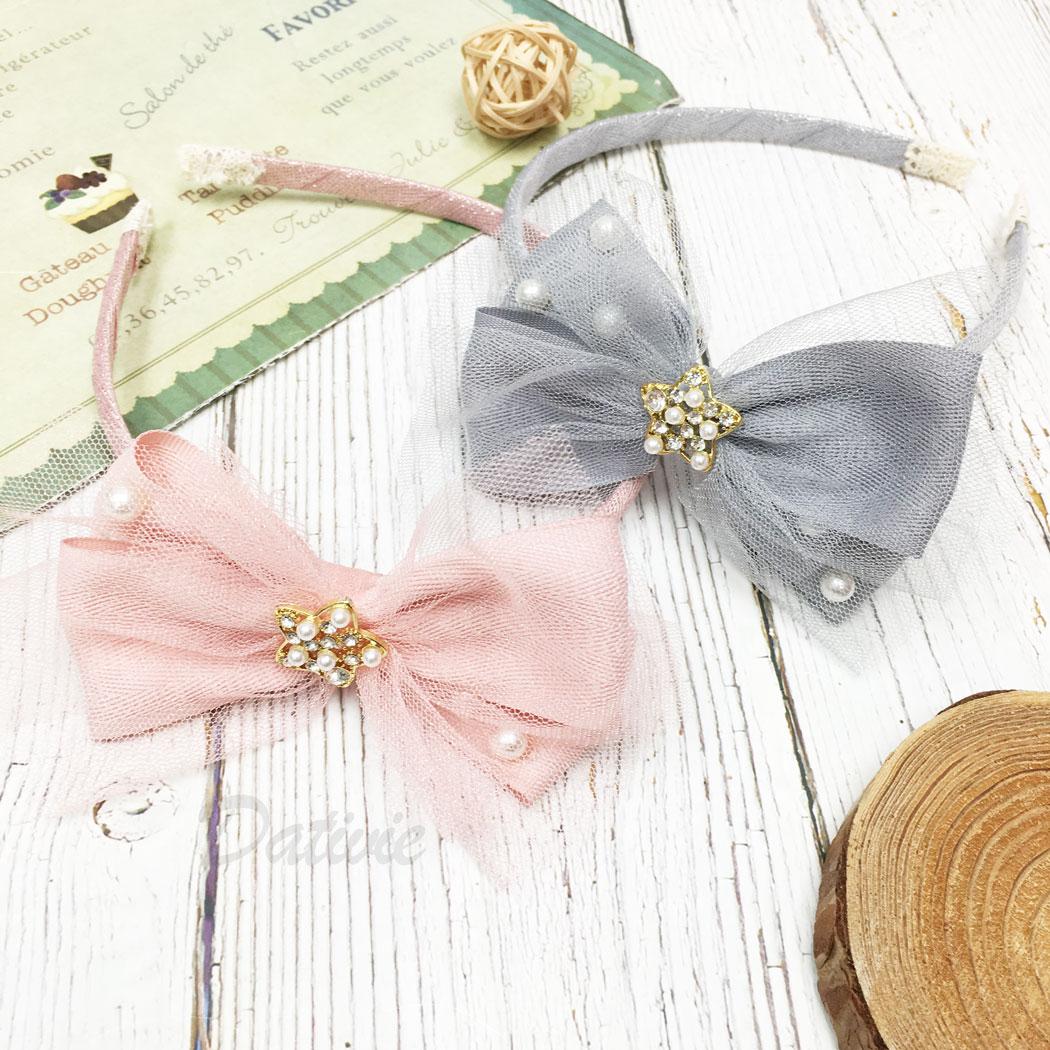 韓國 珍珠 水鑽 星星 簍空 蝴蝶結 網紗 兒童 兩色 髮箍