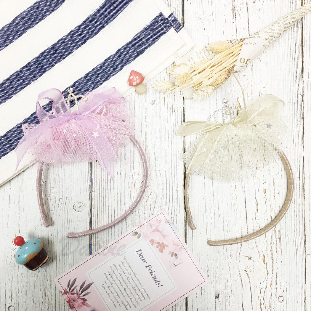 韓國 水鑽 皇冠 星星 亮片 簍空 網紗 蝴蝶結 兩色 兒童 髮箍