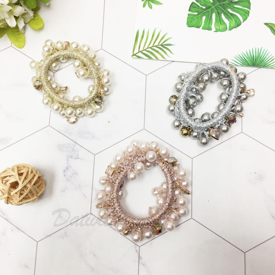 韓國 珍珠 串珠 同款二入一組 三色 髮飾 髮束