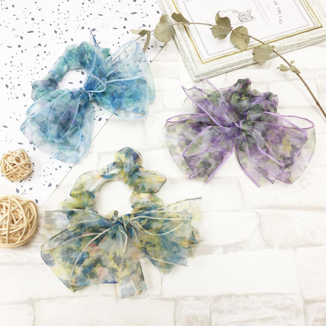 韓國 花朵 蝴蝶結 暈染 三色 大腸圈 髮飾