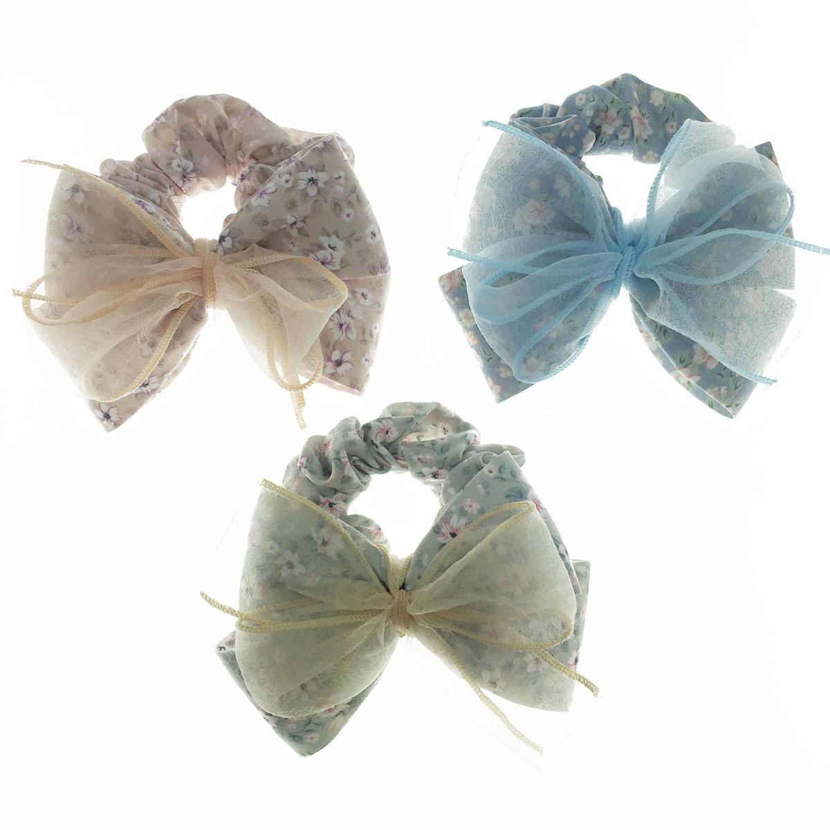 韓國 蝴蝶結 花朵 紗 三色 大腸圈 髮飾